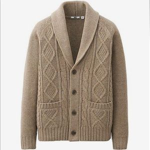 Uniqlo Wool Blend Cable Knit Sweater Cardigan.